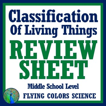Classification of Living Things Review Worksheet (middle school)