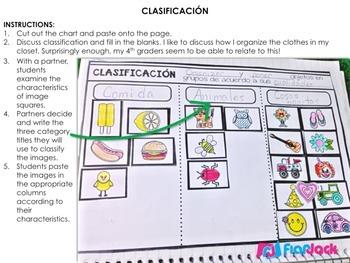 Classification SPANISH Interactive Notebook FREEBIE