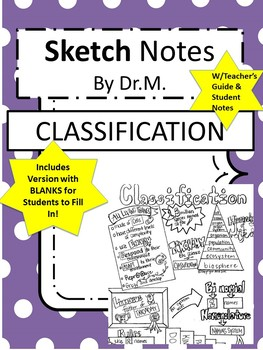 Classification Sketch Notes W/Teacher Guide, Notes & Student FIB Sketch Notes!