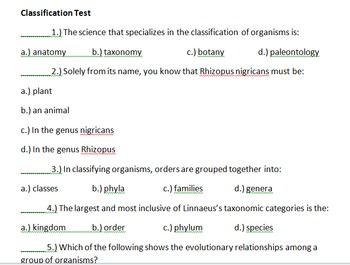 Classification Test