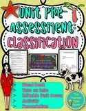 Classification Unit Pre-Assessment or Warm-ups with Editable Unit Cover