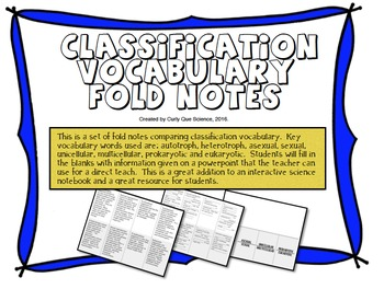 Classification Vocabulary Fold Notes
