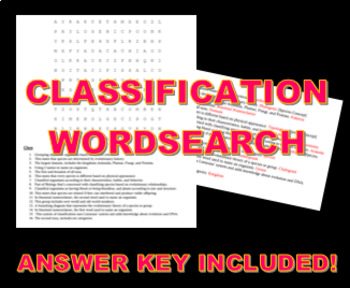 Classification Wordsearch