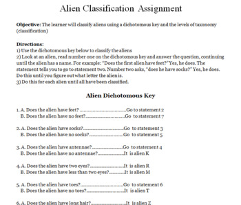 Classification Alien Activity and Creating Dichotomous Keys -- Activities