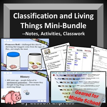 Classification and Living Things Mini-Bundle-Test, StudyGuide, Notes, PowerPoint