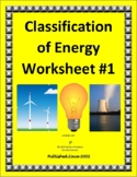 Regular and Modified Classification of Energy Worksheet Set