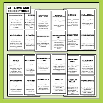 Classification of Life Science Vocabulary Puzzles