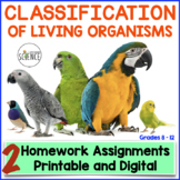 Classification of Living Organisms (Taxonomy) Homework and Study Guide
