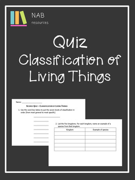 Classification of Living Things - Grade 6 Quiz
