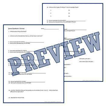 Classification of Living Things - ANIMAL KINGDOM Overview Worksheet