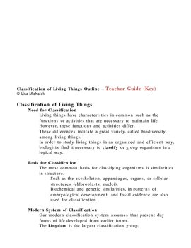Classification of Living Things Notes Outline Lesson Plan
