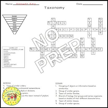Classification of Living Things Crossword Puzzle