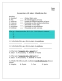 Classification of Living Things Test and Answer Key