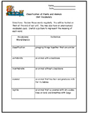 Classification of Living Things Vocabulary and Test Fifth Grade