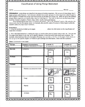 classification of living things worksheet by biology buff tpt. Black Bedroom Furniture Sets. Home Design Ideas