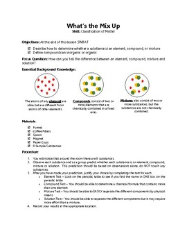 Classification of Matter Inquiry Activity