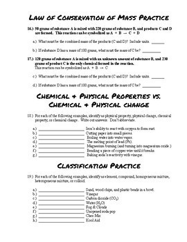 Classification of Matter & Conservation of Mass Practice