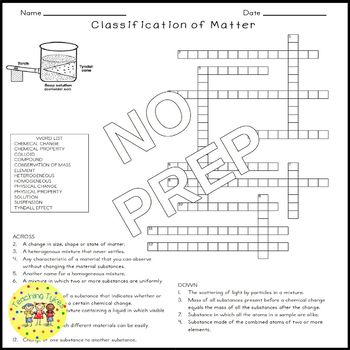 Classification of Matter Science Crossword Puzzle Coloring Middle School