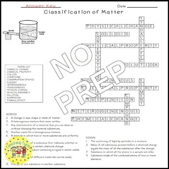 Classification of Matter Crossword Puzzle