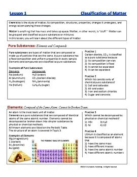 Types of Matter, Elements, Compounds, Mixtures: Essential Skills Lesson#1