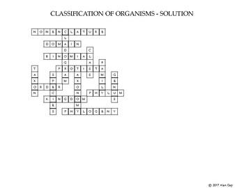 Classification of Organisms Crossword
