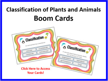 Classification of Plants and Animals Boom Cards