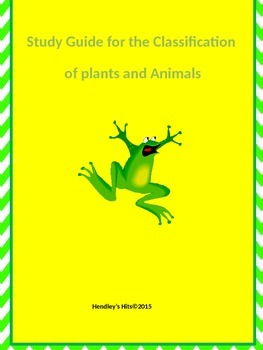Classification of Plants and Animals Study Guide 5th grade Georgia Science