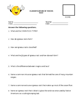 Classification of Rock Test and Class Activity