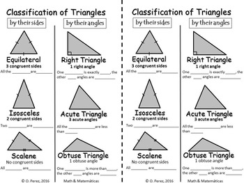 Classification of Triangles by Their Sides and Angles -Matching Cards Activity