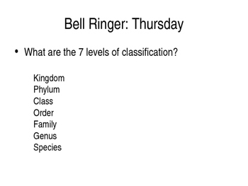 Classification of living things bell ringers