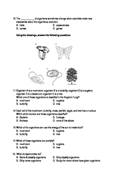 Classification of living things test