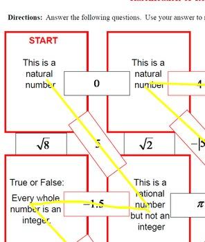 Maze - Classifications Real Numbers (naturals, integers, rationals, irrationals)