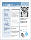Classified Ads For Classroom Jobs, Application Form, & Student Checkbook