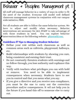 Classified Instructional Aide Beginning of the Year Handbook and Training Manual