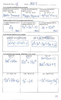Classify, Add, Subtract, and Multiply Polynomials TEST