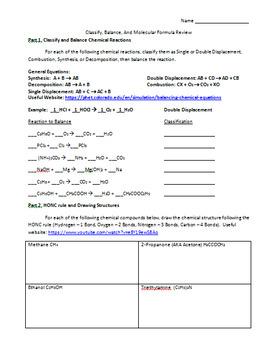Classify, Balance, And Molecular Formula Review
