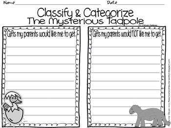 Classify & Categorize - inspired by The Mysterious Tadpole by Steven Kellogg