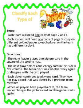 Classify Forms of Energy Group Activity