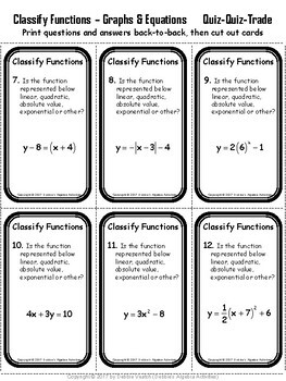 Classify Functions From Graphs and Equations Quiz Quiz Trade Activity