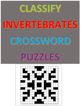 Classify Invertebrates Crossword Puzzles