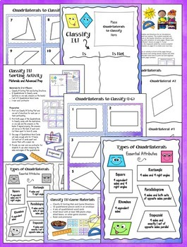 Classifying Quadrilaterals | Sorting Activities, Games, Printables, and Quiz