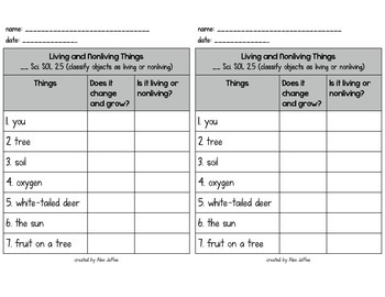 Classify Living and Nonliving Things