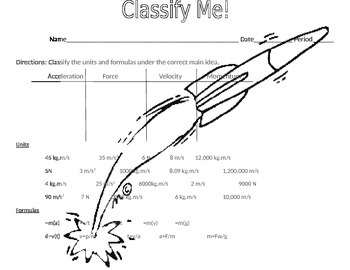 Classify Me! Force Units and Formulas