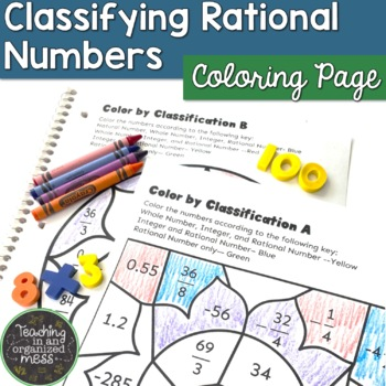 Classify Rational Numbers Color by Number
