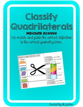 Classify Quadrilaterals Cut and Paste