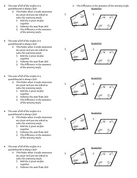 Missing Angles - Quadrilaterals ISN Notes