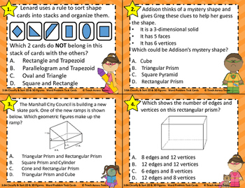 3.6A Classify & Sort 2 & 3 Dimensional Solids Word Problem Task Cards STAAR