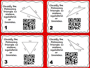 Classify Triangles QR Task Cards