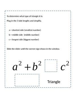 Classify Triangles Slider & Special Right Triangles Notebook Items