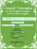 Classify Triangles by Angle Measure & Side Lenghts - Foldable